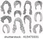 set of  different hairs and... | Shutterstock .eps vector #415473331
