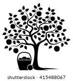 vector apple tree and basket of ...   Shutterstock .eps vector #415488067