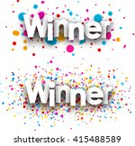 winner paper banners set with... | Shutterstock .eps vector #415488589