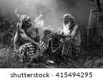 two fishermen were sitting...   Shutterstock . vector #415494295