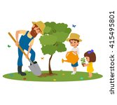 man and the children plant... | Shutterstock .eps vector #415495801
