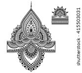 henna tattoo flower template... | Shutterstock .eps vector #415503031