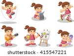 Cute Happy Cartoon Girl Playin...