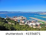 Aerial View of the Port of Gibraltar and the Airport - stock photo