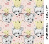 Teddy Bear Seamless Pattern For ...