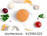 burger topped with vegetables ... | Shutterstock . vector #415581325