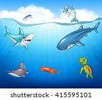 cartoon sea animals | Shutterstock .eps vector #415595101