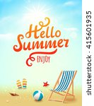 Summer poster with hello summer inscription on beach background with design elements. Vector illustration | Shutterstock vector #415601935