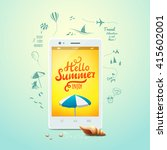 summer poster with hello summer ... | Shutterstock .eps vector #415602001