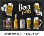 two hands holding beer glasses... | Shutterstock .eps vector #415605424