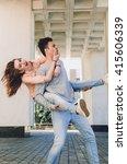 happy young people walk around... | Shutterstock . vector #415606339