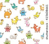 seamless pattern with cute... | Shutterstock .eps vector #415608661