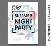 summer night party vector flyer ...   Shutterstock .eps vector #415611961