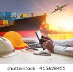 shipping business and container ... | Shutterstock . vector #415628455