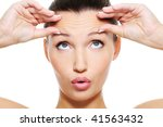 close up female face with a big ... | Shutterstock . vector #41563432