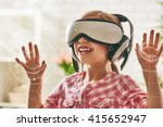 cute little child girl playing... | Shutterstock . vector #415652947