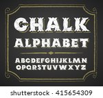 hand drawn alphabet on... | Shutterstock .eps vector #415654309
