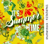 it is summer time yellow... | Shutterstock .eps vector #415656961
