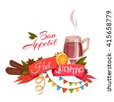 red ribbon with hot quentao for ... | Shutterstock .eps vector #415658779