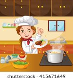 female chef cooking in the... | Shutterstock .eps vector #415671649