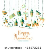 happy ramadan icons set of... | Shutterstock .eps vector #415673281