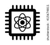 Quantum Computer Chip Flat Ico...
