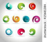 set of abstract swirl colorful... | Shutterstock .eps vector #415681384