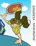 hip hop guy with radio in... | Shutterstock .eps vector #41569345
