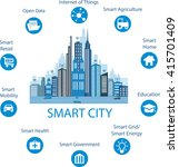 smart city concept with... | Shutterstock .eps vector #415701409