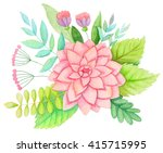 watercolor flowers. hand drawn... | Shutterstock . vector #415715995