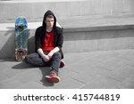 Skater Boy Standing  At Skate...