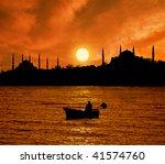 Sunset Over Istanbul Silhouett...