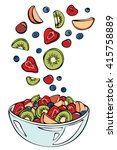 vector sketch of summer salad... | Shutterstock .eps vector #415758889