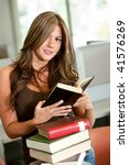 woman at the library with some... | Shutterstock . vector #41576269