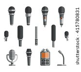 microphones and dictaphone... | Shutterstock .eps vector #415780831