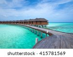 beach with water bungalows at... | Shutterstock . vector #415781569