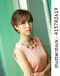 working woman short hair  ... | Shutterstock . vector #415782619