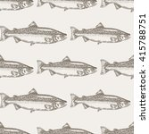hand drawn salmon fish seamless ... | Shutterstock .eps vector #415788751