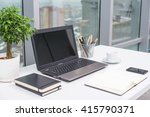 office workplace with notebook... | Shutterstock . vector #415790371