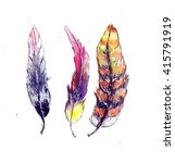 watercolor stylized feathers of ... | Shutterstock . vector #415791919