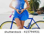 young beautiful hipster woman... | Shutterstock . vector #415794931