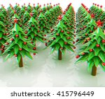 christmas trees on a white... | Shutterstock . vector #415796449