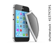 smartphone and shield on white  ... | Shutterstock . vector #415797391