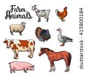 Set Of Farm Animals In Full...
