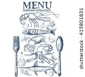 vector hand drawn seafood... | Shutterstock .eps vector #415801831