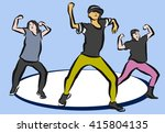 hip hop choreography on blue ... | Shutterstock .eps vector #415804135