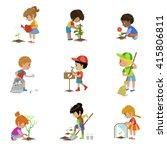 kids gardening set of flat... | Shutterstock .eps vector #415806811
