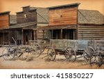 old wooden wagons in a ghost... | Shutterstock . vector #415850227
