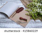 retro accessories and lilac... | Shutterstock . vector #415860229