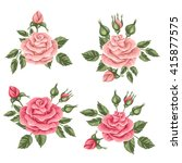 floral elements with vintage... | Shutterstock .eps vector #415877575